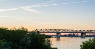 Sunrise over the river. River Don. Rostov region. Sunrise over the river. Bridge over river Don. Rostov region Stock Images