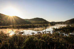 Sunrise over a river, South of Grande Terre, New Caledonia Royalty Free Stock Images