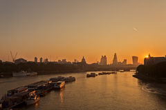 Sunrise over river Thames. Royalty Free Stock Images