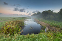 Sunrise over river with water level measuring rod Stock Image