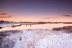 Sunrise over river in winter Royalty Free Stock Photos