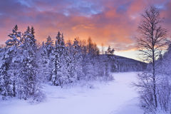 Sunrise over a river in winter in Finnish Lapland Royalty Free Stock Images