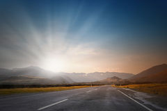 Sunrise over the road Stock Photography