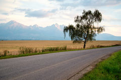 Sunrise over a road to High Tatra mountains Stock Image