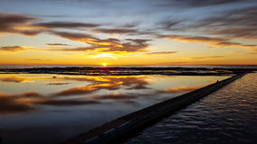 Sunrise over rock pool Royalty Free Stock Photos