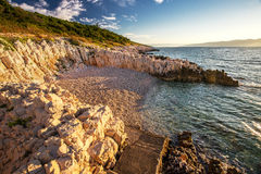 Sunrise over the rocky beach in Istria, Croatia stock images