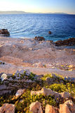 Sunrise over the rocky beach, Istria, Croatia royalty free stock photo