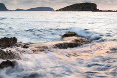 Sunrise over rocky coastline on Meditarranean Sea landscape in S Royalty Free Stock Photography