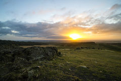 Sunrise. Over rocky rural landscape Stock Image