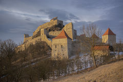 Sunrise over  Rupea fortress Royalty Free Stock Photos
