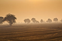 Sunrise over rural landscape in Rajasthan Royalty Free Stock Photos