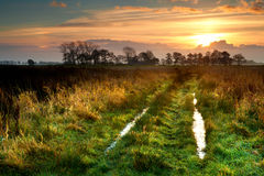 Sunrise over rural road Stock Photography