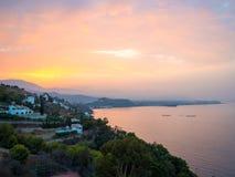 Sunrise over the Salobrena city coastline in Granada, Spain. royalty free stock image
