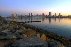 Sunrise over San Diego, California from Coronado Island stock photography