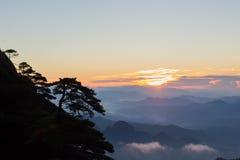 Sunrise over san qing mountain China Stock Image