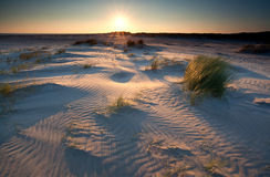 Sunrise over sand dunes on North sea coast Stock Photo