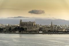 Sunrise over Santa María cathedral Palma from Queen Elizabeth stock photo