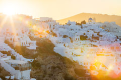 Sunrise over Santorini, image with optical sun flares Royalty Free Stock Photo
