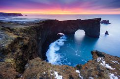 Sunrise over Sea arch at Dyrholaey peninsula , South of Iceland. Sunrise over Sea arch at Dyrholaey peninsula , Iceland Stock Photos