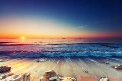 Sunrise over sea stock photos
