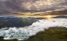 Sunrise Over Sea of Clouds Stock Photos
