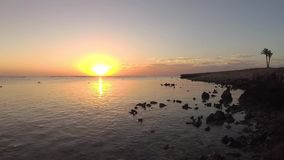 Sunrise over the sea, coastal reef at low tide. stock footage