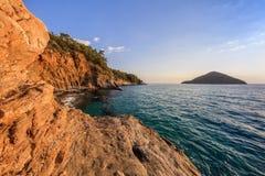 Sunrise over the sea and coastline. Thassos, Greece. Sunrise over the sea and coastline. Kinira island, Thassos, Greece Royalty Free Stock Photos