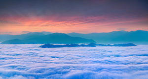 Sunrise over the sea of fog Stock Image