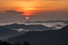 Sunrise Over Sea fog and mountain Royalty Free Stock Images