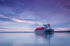 LNG TANKER. Sunrise over the sea gas terminal Royalty Free Stock Photography