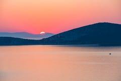 Sunrise over sea in Greece Stock Image