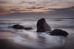 Sunrise over the sea, near Burgas town, Bulgaria Stock Images