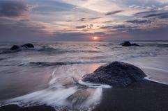 Sunrise over the sea, near Burgas town, Bulgaria Stock Image
