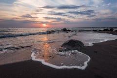 Sunrise over the sea, near Burgas town, Bulgaria Royalty Free Stock Photos