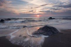 Sunrise over the sea, near Burgas town, Bulgaria Stock Photography