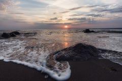 Sunrise over the sea, near Burgas town, Bulgaria Stock Photos