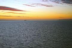 Sunrise over the Sea. Oresund Strait, near Copenhagen, Denmark Stock Photo