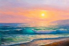 Sunrise over sea. Painting seascape. Morning on sea, wave, illustration, painting acrylic paints on a canvas stock photos