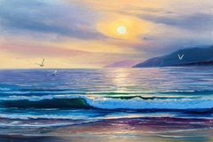 Sunrise over sea. Painting seascape. Morning on sea, wave, illustration, painting acrylic paints on a canvas stock photo