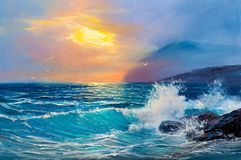 Sunrise over sea. Painting seascape. Morning on sea, wave, illustration, painting acrylic paints on a canvas royalty free stock photography