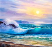 Sunrise over sea. Painting seascape. Morning on sea, wave, illustration, oil painting on a canvas stock photo