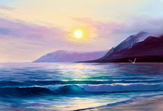 Sunrise over sea. Painting seascape. Morning on sea, wave, illustration, oil painting on a canvas stock photos