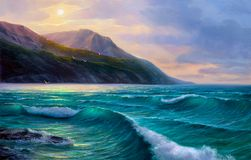 Sunrise over sea. Painting seascape. Morning on sea, wave, illustration, Oil painting paints on a canvas stock photos