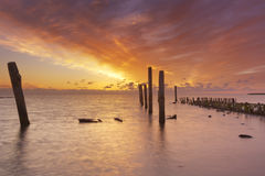 Sunrise over sea on Texel, The Netherlands Royalty Free Stock Images