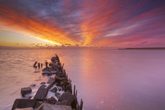 Sunrise over sea on Texel, The Netherlands Stock Photography