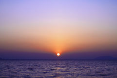 Sunrise over the sea with twilight sky Royalty Free Stock Photo