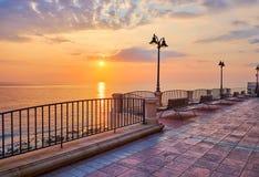 The sunrise over the seaside promenade, Sliema, Malta stock photography