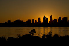 Sunrise over Seattle Skyline along Puget Sound Stock Image