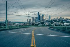 Sunrise over seattle wahington skyline in spring. Sunrise over seattle wahington skyline in  spring Royalty Free Stock Photography