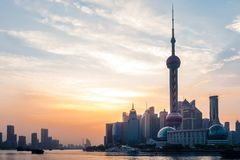 Bund Sunrise April 16 2018 in Shanghai China Royalty Free Stock Images